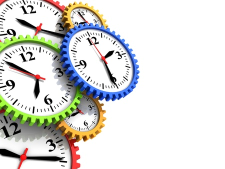 abstract time: abstract 3d illustration of background with clock gear wheels and copy space