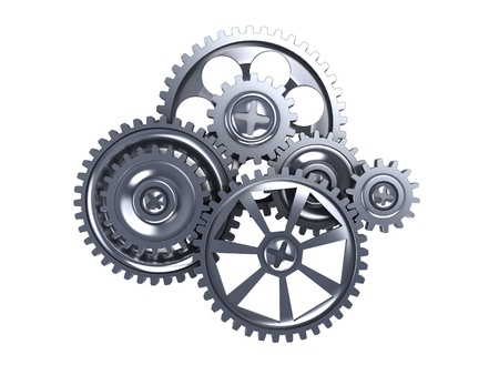 clock gears: 3d illustration of gear wheels isolated over white background Stock Photo