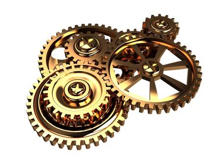 3d illustration of golden gears mechanism isolated over white illustration