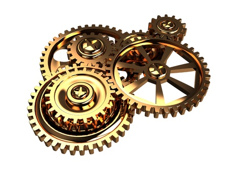 pinion: 3d illustration of golden gears mechanism isolated over white