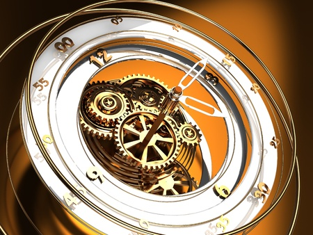watch gears: abstract 3d illustration of golden clock mechanism, time flow concept