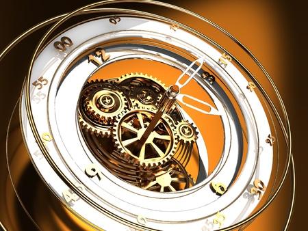 reloj de pendulo: Ilustraci�n 3d abstracto del mecanismo del reloj de oro, concepto de flujo de tiempo