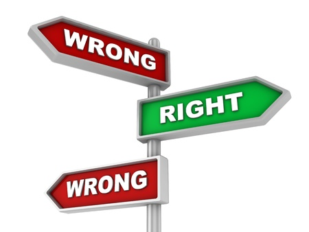 3d illustration of wrong or right way choice