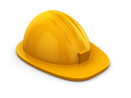 3d illustration of yellow hardhat over white background illustration