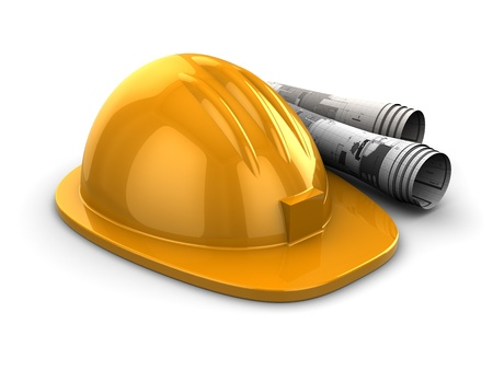 3d illustration of hardhat with rolled blueprints illustration