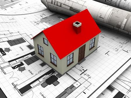 building plans: 3d illustration of house maquette over blueprints Stock Photo