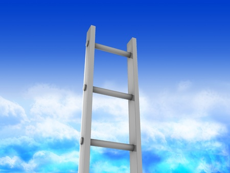 endless: 3d illustration of ladder in heaven