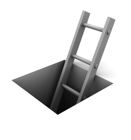 huir: Ilustraci�n 3D de escalera en un orificio cuadrado sobre fondo blanco Foto de archivo