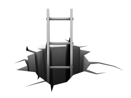 open pit: abstract 3d illustration of ladder in hole Stock Photo