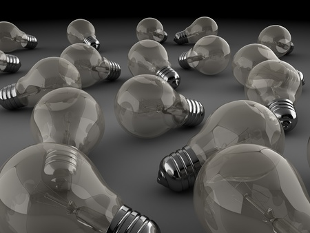 electric bulb: 3d illustration of many light bulbs background Stock Photo