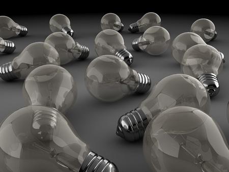 light bulbs: Ilustraci�n 3D de muchas de las bombillas de luz de fondo