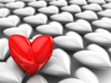 abstract 3d illustration of red heart with gray crowd illustration