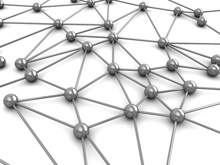 abstract 3d illustration of network or molecular structure over white background Stock Illustration - 9351244