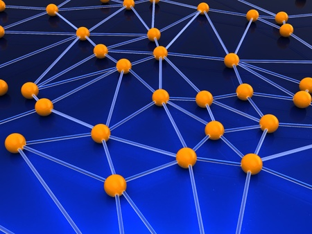 neural: abstract 3d illustration of network structure concept Stock Photo