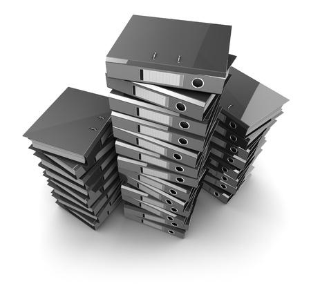 3d illustration of archive folders heap, over white background illustration