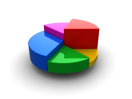 3d illustration of generic pie chart over white background illustration