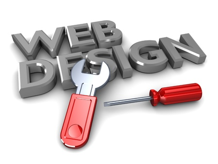 web development: abstract 3d illustration of text web design with wrench and screwdriver