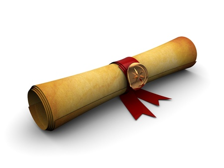 authenticate: 3d illustration of old paper scroll with golden seal and ribbon