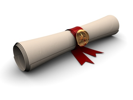 rolled scroll: 3d illustration of paper scroll with golden seal and red ribbon