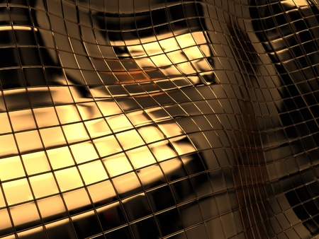 abstract 3d illustration of golden tiles background