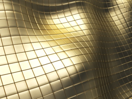 perspective grid: abstract 3d illustration of golden tiles background