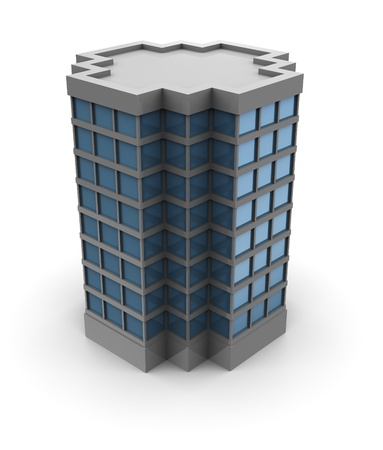 office building exterior: 3d illustration of single office building over white background