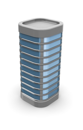 edificio: Ilustraci�n 3D del edificio gen�rico sobre fondo blanco