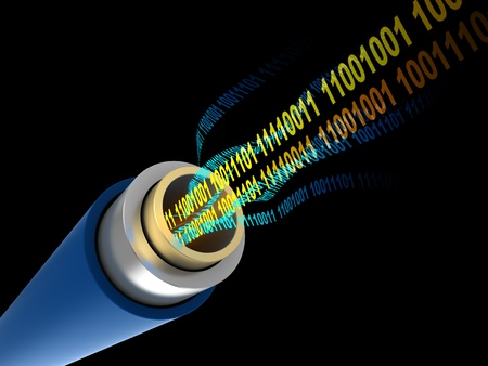 fiber optic: 3d illustration of cable with digital binary code inside