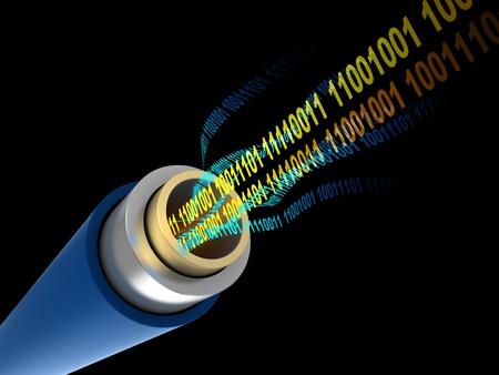 fibra �ptica: Ilustraci�n 3D de cable con c�digo binario digital dentro de