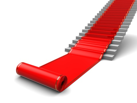 fames: 3d illustration of red carpet roll and white stairs Stock Photo