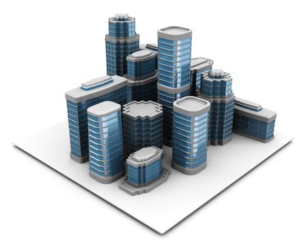 촉각 근: 3d illustration of city block, over white background
