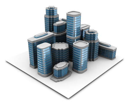 large office: 3d illustration of city block, over white background