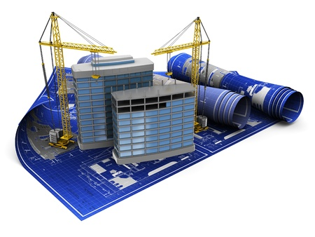 abstract 3d illustration of two cranes and building illustration
