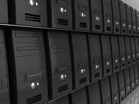 3d illustration of many computers, hosting concept illustration