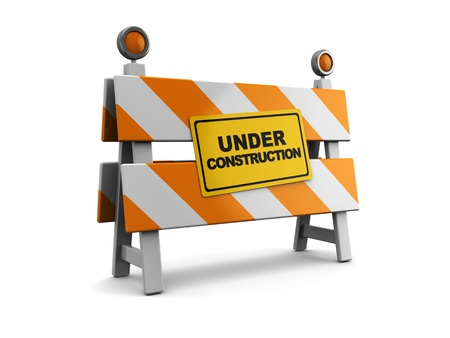3d illustration of under construction barrier over white background Stock Illustration - 9518782