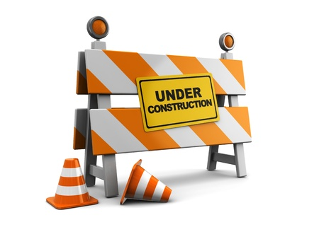 construction icon: 3d illustration of under construction barrier with road cones