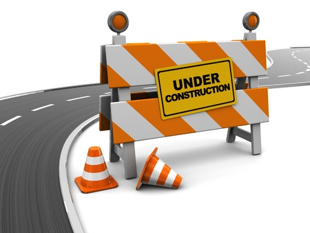 danger ahead: 3d illustration of under construction barrier and asphalt road