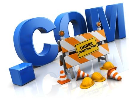 3d illustration of internet site under construction concept illustration