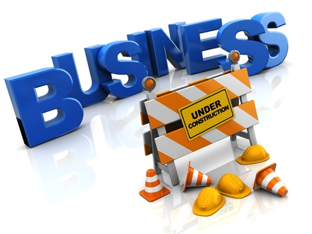 traffic barricade: abstract 3d illustration of building business concept Stock Photo