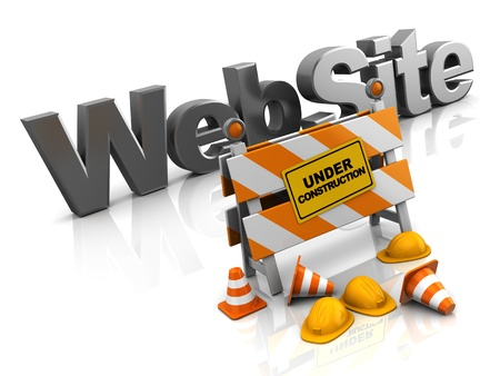 traffic barricade: abstract 3d illustration of website construction concept Stock Photo