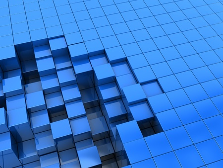 abstract 3d illustration of blue blocks background illustration