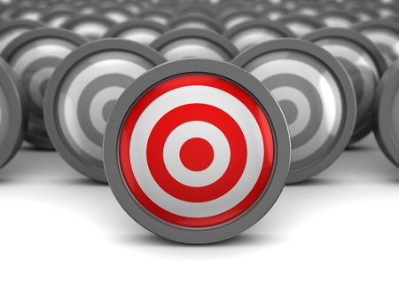 focus on the goal: abstract 3d illustration of one right target and many wrong