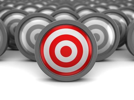 target business: Ilustraci�n 3d abstracta de un destino adecuado y muchos mal