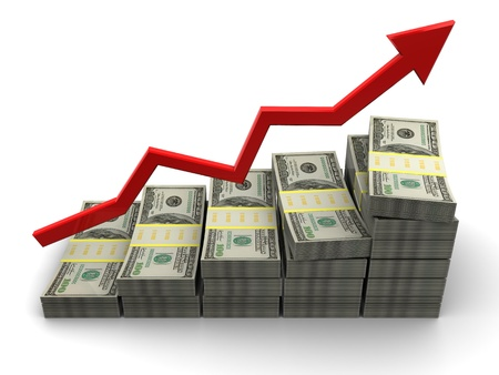 sales graph: 3d illustration of rising money charts, business success concept Stock Photo