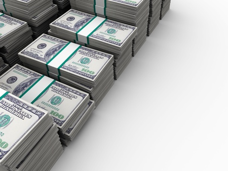 stacks of money: abstract 3d illustration of many dollar stacks background