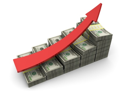 sales chart: 3d illustration of dollars rising charts with red arrow Stock Photo