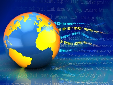 abstract 3d illustration of earth globe with binary code, internet concept illustration