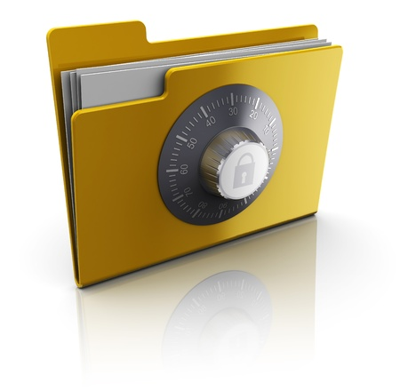 3d illustration of folder with documents protected by combination lock Stock Illustration - 9518788