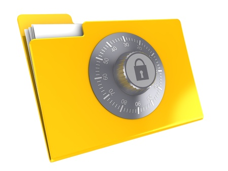 3d illustration of yellow folder icon protected by combination lock illustration