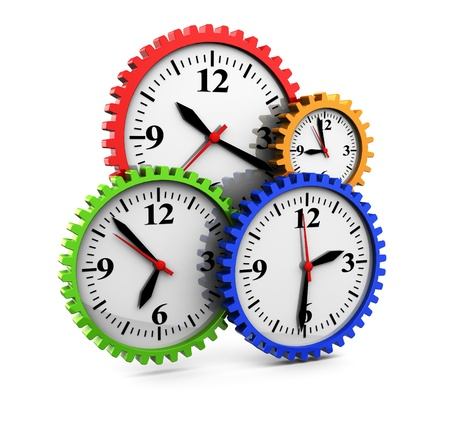 time zones: abstract 3d illustration of clocks gear wheels, over white background Stock Photo